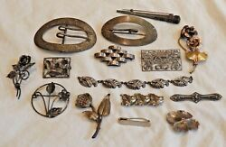 Collection Of Vintage Sterling Silver Jewelry With Pins, Brooches And Bracelet
