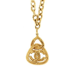 Coco Mark Long Necklace Gold Triangle Accessory 93a Vintage 90122824