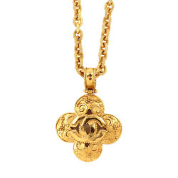 Coco Logos Flower Motif Necklace Gold 96a Accessory Vintage 90122921