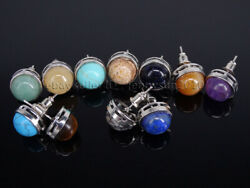 Natural Gemstone Round Ball Reiki Chakra Silver Plated Earrings Studs Jewelry