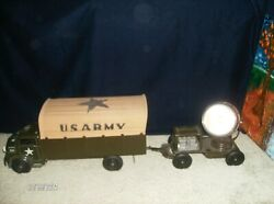 Marx 1951 Vintage U.s.army Truck And Working Searchlight Trailer Steel Gorgeous