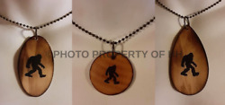 You Choose Bigfoot Sasquatch Wooden Disc Pendant Necklace 24 Nickel Free Chain