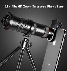 15x- 45x Hd Zoom Telephoto Phone Camera Lens Tripod For Iphone 11 Pro Xs Max 8 7