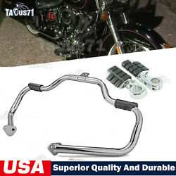 Mustache Highway Engine Guard Crash Bar/foot Pegs For Harley Touring 1997-2008
