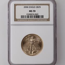 2006 American Gold Eagle G25 Ngc Certified Ms70 1/2oz