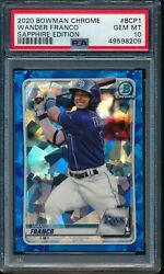 Psa 10 Wander Franco 2020 Bowman Chrome Sapphire Refractor Rookie Rc Gem Mint