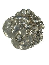 Unger Brothers Large Art Nouveau Sterling High Relief Pin