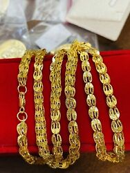 21k Fine 875 Saudi Gold Mens Womenand039s Damascus Necklace With 24andrdquo Long 16.38g 5mm