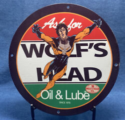 Vintage Porcelain Wolfand039s Head Oil And Lube Man Cave Gas Pump Plate Garage Sign