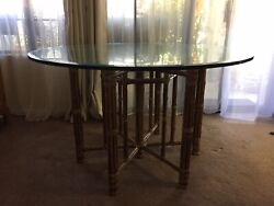 """1970's San Francisco John Maguire Dining Room Table Glass 48"""" Round"""