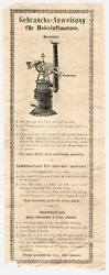 1900 Hot Air Motor Instructions Bing Carrette Doll German Toys Steam Engine