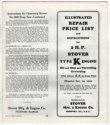 1933 Stover Mfg Engine Co Price List And Instructions 2 Hp Stover Type K Hit Miss