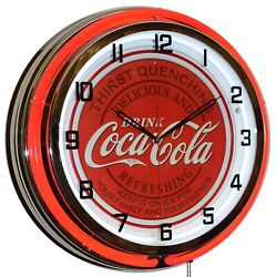 Coca-cola Family And Friends Sign Red Double Neon Clock Game Room Wall Decor 19