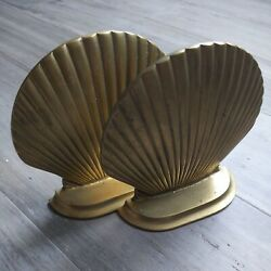 Vintage Metal Clam Shell Figure Bookends Retro Art Deco Brass 5 Tall 5 Wide
