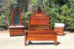 Walnut Victorian 3pc Marble Top Bed Bedroom Set Sunflower Crowns Ca.1880
