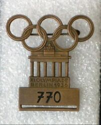 Summer Olympic Games Berlin 1936 - Original Old Large Participant Numbered Badge