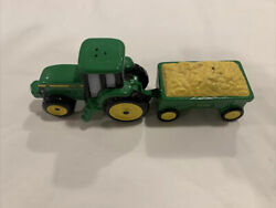 John Deere Tractor And Wagon Of Wheat Salt And Pepper Shakers
