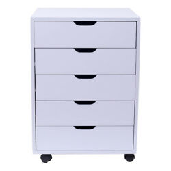 5 Drawer Mobile Cart Storage Cabinet Wood Filing Cabinet w Locking Home Office