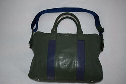 Paul Smith Green / Blue Leather Business Folio Laptop Shoulder Strap Holdall Bag
