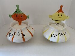 Vintage Holt Howard Mustard And Ketchup Pixie Jar With Spoons