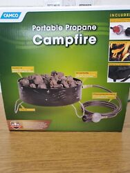 C2 Camco Portable Campfire Outdoor Propane Heater Fire Pit With Lava Rocks