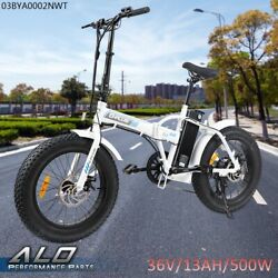 500w 36v 7 Speed 20and039and039 Fat Tire Folding Electric Bicycle City Beach E-bike White