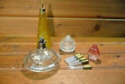 Lot Of Antique Perfume Bottles And Sample Glass Vials Scent W Stoppers Vintage