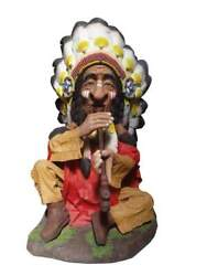 Sitting Indian Chief With Head Dress Smoking Life Size Statue
