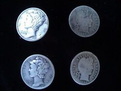 Lot Of 4 Dimes 2 Mercury And 2 Barber 1905 1906 1941 1941 Us Coins