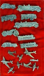 Collection Of 18 Brooches And Pins. Punched Silver. Transport. Xxth Century.