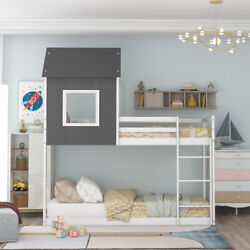 Twin Over Twin Low Bunk Bed Or Loft Bed,house Bed With Roof,grayandwhite