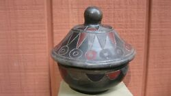 Vintage Black/red Clay Etched Pottery Bowl W/lid Burnished