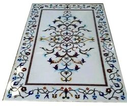 24 X 48 Inch White Marble Patio Dining Table Top Inlay Meeting Table Floral Work