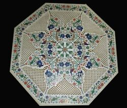 Intricate And Inlay Work Marble Coffee Table Top Center Table Indian Vintage Art