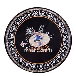 42 Inches Marble Conference Table Top Stone Restaurant Table With Marquetry Art