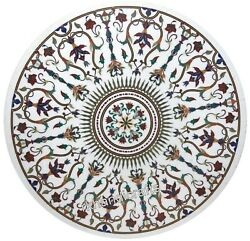 Semi Precious Stones Inlaid Center Table Top Marble Meeting Table Size 48 Inches