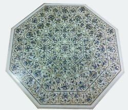 Shiny Gem Stone Inlaid Dinning Table Top Marble Island Table Size 36 X 36 Inches