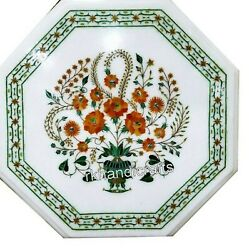 27 Inches Marble Patio Table Top Inlay Center Table With Cottage Art And Craft