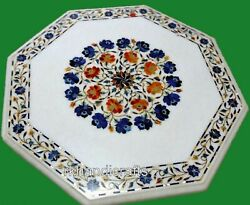 Multi Semi Precious Stones Inlaid Lawn Table Top Marble Dinning Table 36 Inches