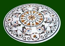 42 Inches Round Marble Center Table Top Inlay Coffee Table With Unique Design