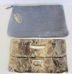 GORGEOUS 2 CLUTCHES BAGS Nine West PVC ANIMAL PRINT TONI BLUE LEATHER EMBOSSED $9.99