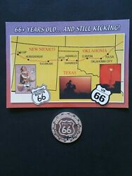 Get Your Kicks On Route 66 One Troy Oz .999 Fine Silver Round W/ Rare Postcard