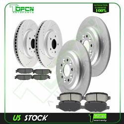 Front And Rear Ceramic Brake Pads With Rotors Slotted For 09-10 13-15ford Flex
