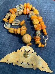 Antique Tibetan Amber, Glass, Brass Beaded Necklace W/ Handcarved Dragon Pendant