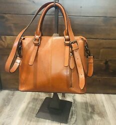 Authentic HESHE Top Grain Leather Satchel Crossbody Women's Purse $45.95