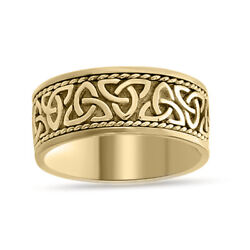 Celtic Engagement Wedding Band Ring 14k Yellow Gold Over Sterling Silver