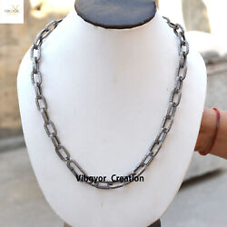 Pave Diamond Link Chain 925 Sterling Silver 22 Necklace Chain Spring Clasp Lock