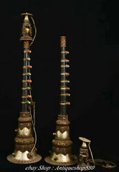 Tibet Copper Turquoise Coral Dragon Horn Clarion Trumpet Musical Instrument Pair