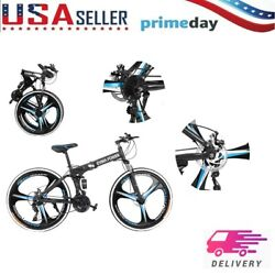 Three-knife Wheel 26in Folding Mountain Bike 21speed Bicycle Full Suspension Mtb