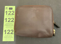 "Hobo Small Brown Leather International Wallet 4""x5"" Double Zippier Closure $22.49"